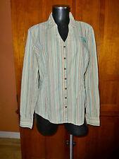 HARLEY DAVIDSON size XL 100% Cotton Stripe Metal Button Down Blouse TOP
