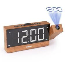LED Digital Projection Radio Alarm Clock Desk Table Watch Snooze Projector USB