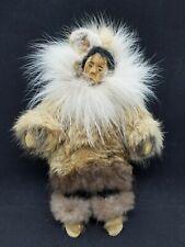 Vintage Eskimo Inuit Doll Mother & Baby Carved Wood & Fur Posable Native Alaska