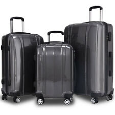"""GLOBALWAY 3 Pcs 20"""" 24"""" 28"""" Luggage Travel Set ABS+PC Trolley Suitcase Spinner"""