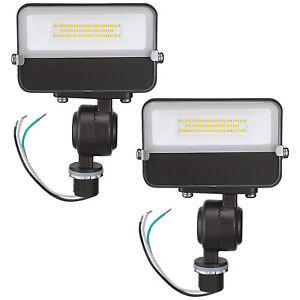 2-Pack Knuckle Mount LED Flood Light 15W 3000K 120V Bronze Outdoor LED Fixture
