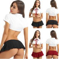 Sexy Women's School Girl Lingerie Dress Costume Uniform Cosplay Shirt Skirt Sets