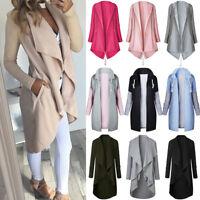 Womens Long Sleeve Waterfall Cardigan Jacket Trench Coat Outwear Slim Tops Hot