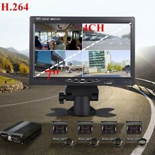 "7"" Car Monitor 4CH +4x Night Vision Camera +Video Recorder Box For Truck Van Bus"