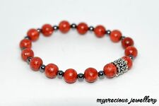 Red Coral Hematite Beaded Natural Gemstone Bracelet Stone Healing Reiki Chakra
