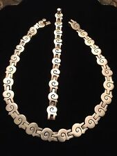VTG MEXICO TAXCO 950 SOLID Sterling Silver PUZZLE NECKLACE & BRACELET SET,SIGNED
