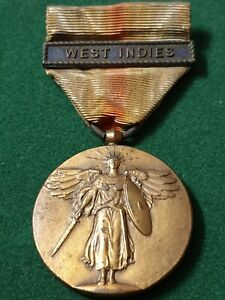 WW1 US VICTORY MEDAL WITH WEST INDIES BAR -ORIGINAL - FADED RIBBON