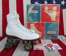 Vintage Chicago Womens White Leather Roller Skates Imperial Wheels Sz.8 w/Box