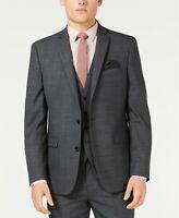 $425 Bar III Slim Fit Windowpane Sharkskin Suit Jacket Mens 38L 38 Gray NEW