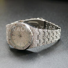 Men's Iced out Luxury 14K Gold Pt.,Silver Rapper's Lab Diamond Metal Band Watch