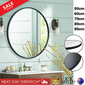 Large Round Circle Wall Mirror Bathroom Decorative Mirrors Big Wood Black Frame