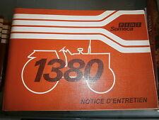 Someca Fiat tracteur 1380 : notice utilisation 1980