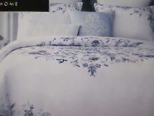 TAHARI Ivory Soft White Lavender Purple Teal Watercolor Floral Duvet Set - King