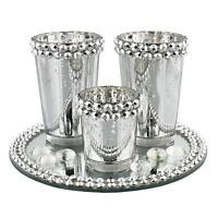 Antique Silver Mirror Glass Round Base Three Candle T-Lite Holder / tea light ho