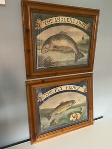 Anglers Arms Specked Trout Hunting Lodge & The Fly Fisher Big Framed Prints X 2
