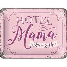 PLAQUE EN METAL EMAILLEE NEUVE 15 X 20 cm : HOTEL MAMA OPEN 24H
