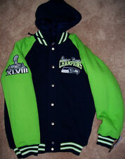 SEATTLE SEAHAWKS SUPER BOWL Championship Hooded FLEECE Jacket LARGE Blue Green