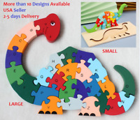 Wood Jigsaw Puzzle Children Kids Learning Preschool Educational Animals Vehicles
