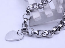 Bracelet Stainless Steel bangle 8mm 8.26'' Sweet Heart Charms design Rolo Chain