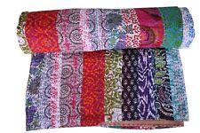 Vintage Kantha Quilt Patchwork Indian cotton Queen Bedding BedCover Blanket