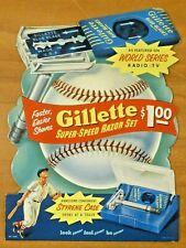 "Vintage 1940's-50's Gillette Baseball Stand Up Ad 8"" x 11"""