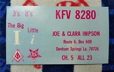 "HAM CB RADIO QSL Trading Card ""THE BIG I & LITTLE I - IMPSON - DENHAM SPRINGS LA"