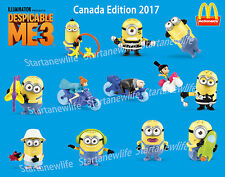 2017 McDONALD'S DESPICABLE ME3 MINIONS HAPPY TOYS Canada Edition 12 Toys (1 Set)