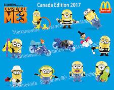 2017 McDONALD'S DESPICABLE ME3 MINIONS HAPPY TOYS Canada Edition 12 Toys (1 Set)