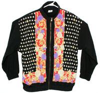 Vtg Sport Savvy Women's Black Ladybug Floral Print Full Zip Track Jacket Sz L