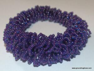 Woven Glass Beads Purple Stretch Bracelet Art to Wear Asymmetric