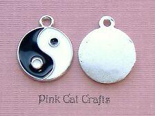 5 X Yin Yang Esmalte & Cuentas Colgantes Encantos de Plata Tibetana