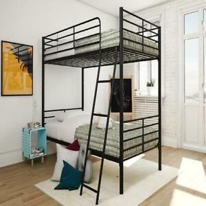 Twin Over Twin Convertible Bunk Bed, Black
