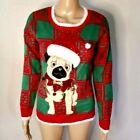 33 Degrees Womens Sweater Size XS Santa Pug Ugly Christmas Holiday Dog New