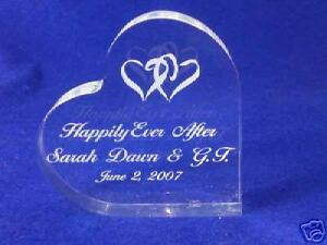 Crystal  Heart Happily Ever After Cake Topper Engrave