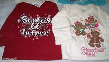 Set of 2 Girls Christmas Gingerbread & Santa's Helper Sparkle Tops 6-9 months
