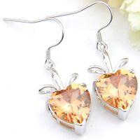 Dazzling Heart Shape Fire Morganite Zirconia Gems Silver Drop Earrings