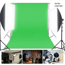3 x 3M/10 x 10FT Photography Studio Flannel Backdrop Background Screen Green US