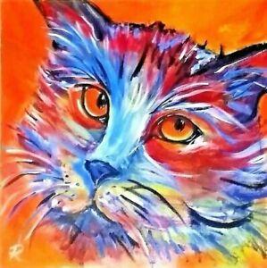 """ Whiskers"" Original Painting~ De Martino Art"