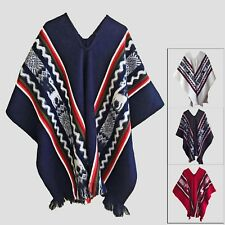 HAND WOVEN LLAMA WOOL MENS WOMENS UNISEX SOUTH AMERICAN PONCHO CAPE COAT JACKET