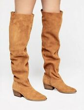 Free People Boots Over The Knee Slouch Camel Gold Suede 1/2 Zip 39 / 9 NEW