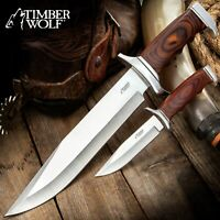 Timber Wolf Two Piece Full-Tang Bowie Knife Set and Sheath for Hunting+Survival