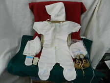 Vintage Infant Baby or Doll Pajamas, 3 Bonnets & Tan/Brown Suede Shoes #1513