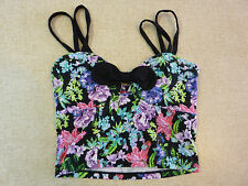 Women's FOREVER NEW Size 4 AU Crop Top Floral ExCon Bow Ladies Girls Stretchy
