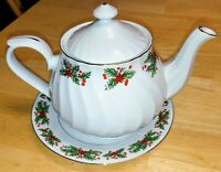 Truly Tasteful Fine China Tea Pot + Plate White W/ Holly Berries & Gold Rim