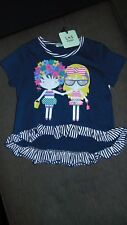 Lilly & Sid S/Sleeved Frilled 'Little Sister' Top 4-5y 110cm Navy Mix BNWT