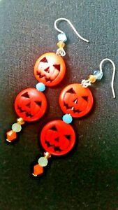 Pumpkin earrings orange halloween crystals hand made