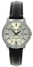 Casio Women's Analog Quartz Stainless Steel Black Leather Watch LTPV004L-7A