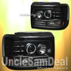 FORD F-SERIES BRONCO HALO RIM ANGEL EYE PROJECTOR HEADLIGHT CLEAR BLACK PAIR