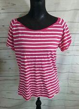 Lazy Jacks Womens UK 12 Pink White Striped T Shirt Top