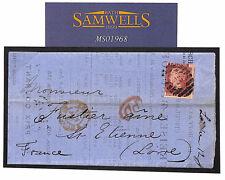 MS1968 1867 Go Printed matter inscrit GPO Transmission à l'étranger 1d taux de France